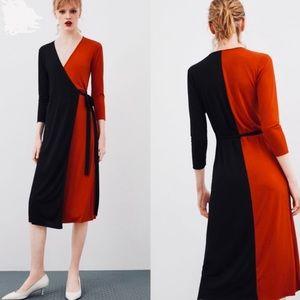 {Zara} Color Block Wrap Dress